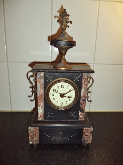 French marble alarm clock - beautiful timepiece - approx. 1880