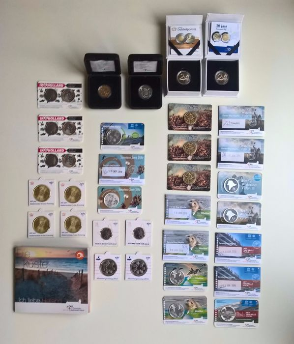 Netherlands - various euro coins, medals and 1st day issue and a few guilders 2006/2016