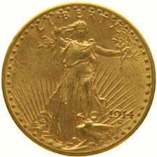 United States – 20 Dollars 1914 (Denver) 'Saint Gaudens' – gold