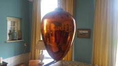 Large antique old blown glass ball,coloured brown