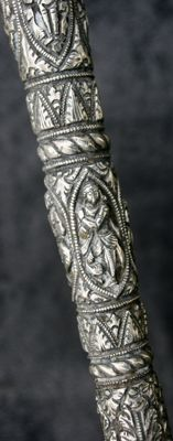Asian cane in silver with 8 Buddhist goddesses - Asia - beginning of the 20th century