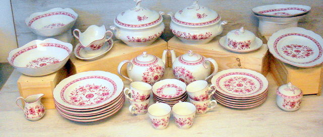 Antique Bavaria porcelain dinnerware old pink flower pattern 32 parts & Antique Bavaria porcelain dinnerware old pink flower pattern 32 ...