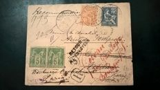 France 1901 - a much travelled cover with 17 pmks to Italy redirect to Bouloone