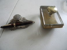 Vintage Fountain Pen from the 50s, Inkwell Penholder and Blotter in Solid Brass