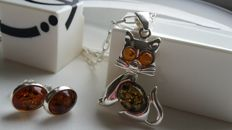 "Set - Pendant ""Kitty"" -  Earrings & Chain - natural Baltic amber - silver 925 - no pressed - UV test"