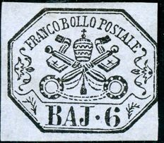 Papal States – 6 Baj. Lilac grey – Sass. Serial no. 7A