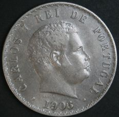 Portugal Monarchy - Carlos I (1889-1908) - 500 Reis 1906 (Overdate - 6 over 3) - Silver