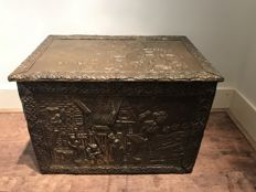 Beautifully ornamented brass peat box, heavy object!