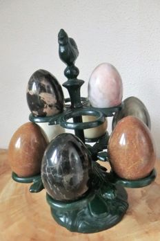 Collection of 8 Nice polished various mineral eggs - 12/14cm - 4000 gm (8)
