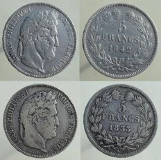 France 5 Francs 1833-Q and 1842-W (lot of 2 coins) - Louis Philippe - Silver