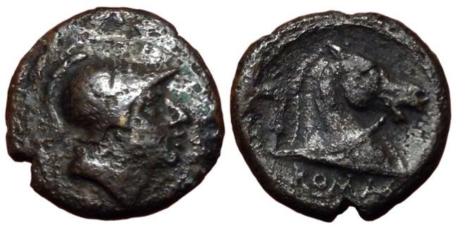 Roman Republic - Romano Campanian Coinage, Anonymous c. 241-235 BC - Æ Litra (bronze, 16mm, 3,27g.), Rome mint - Head of Mars / Horse's head - Cr. 25/3; Rutter Historia Numorum Italy 299