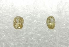 Couple of 2 Oval cut diamonds total 0.24 ct Fancy Brownish Yellow / Greenish Yellow SI2   -No Reserve