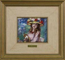 """RENOIR, Pierre-Auguste (1841-1919) - """"Girl with flower Hat"""" fire enamel sign, in the manner of Limoges-Galeria de Arte El Greco/Masters Collection of Impressionism"""
