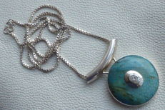 Large silver pendant with Amazonite and Rock crystal on long silver necklace