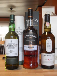 3 bottles - Laphroaig 18 years old - Bowmore 12 years old Enigma - Lagavulin 8 years old