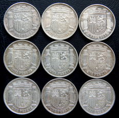 Spain - 2nd Republic - 1 Peseta 1933 *3-4 - Lot of 9 coins - silver