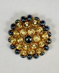 Christian Dior 1970 - Very Rare Gold Tone & Hematite Signed Brooch