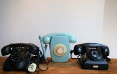 3 beautiful decorative vintage telephones.