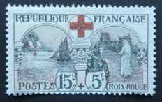 France 1918 - 15c + 5c black and red, signed Calves - Yvert no. 156.