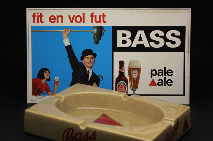 Bass pale ale- belgian beer advertising sign / ashtray - 60's
