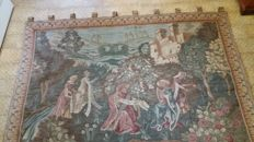 A tapestry with a medieval scene