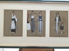 3 Pochoir 'Tres Parisien' - Art Deco fashion prints in frame