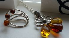 "Set - Brooche ""Flowers"" & Pendant & Chain 47 cm - natural Baltic amber - silver 925 - no pressed - UV test"