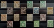 France 1876/1900 - Lot of Sage Types I and II - Yvert no. 75 (2), 80, 87 (2), 88 (2), 89 (2), 90, 96, 102, 105 (2), 106
