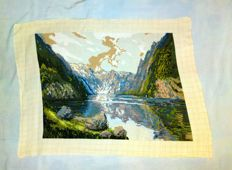 "Handmade Wiehler gobelin - ""Am Konigssee"" ""King's Lake"""
