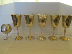 Five silver plated Wine Goblets and a Silver plated Goblet for cognac.