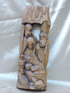 Wood carving made of an oak panel - Birth of Jesus - and she wrapped him in swaddling cloths