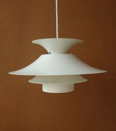 Unknown designer - metal Pagoda style disk ceiling light in cream white