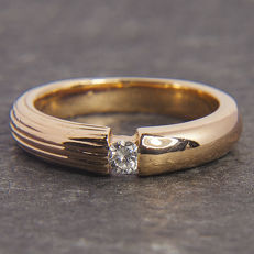 14K Rosegold Solitaire Engagement / Entourage Ring Diamond in brillant cut of c. 0,1 Ct  RS 49-50: US: 5-5,5 : 15,9 mm∅