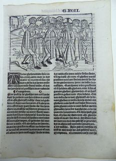 Master of Delft - Incunabula woodcut leaf from Vitae Christie with large woodcut and woodcut initial - Christ Heals the Sick: 'Als die ghebenedijde insyn' - 1488