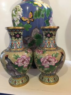 Three vases in cloisonné - China - Second half of 20th century