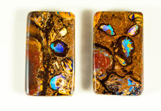 Pair Boulder Opal - 25.40 x 14.75 x 5.29 mm - 47.59 ct