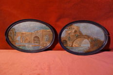 Two Italian Vedouten Paintings - oil on cardboard