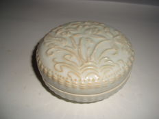 A Chinese light grey celadon porcelain medicine box with lotus flower decoration -  92 x 47 mm