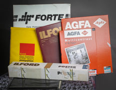 Lot of large black and white photo paper AGFA , FORTE , ILFORD & KODAK