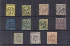 Modena 1852/1859 - selection of first issue, provisional government and newspaper stamps - Sassone nos. 3/4, 6/7, 12, 14, 18 and newspapers no. 3