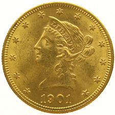 "United States - 10 Dollars 1901 (San Francisco) ""Coronet Head"" - Gold"