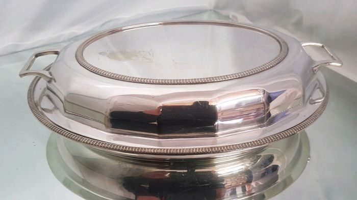 Antique English silver serving dish with lid, handles and Greek fret - signed J.H. Potter of Sheffield