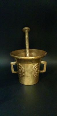 19th Century Antique Bronze Mortar and Pestle
