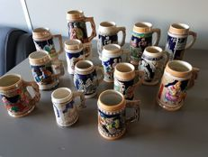 Lot of 15 earthenware beer steins