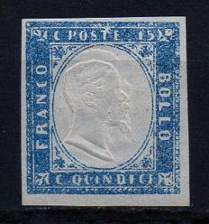 Kingdom of Italy, 1862 - 15 Cents Grey Blue, Specimen with Double Effigy - Sassone No. 11e/k