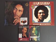 Bob Marley & The Wailers - lot of 2 albums and 2 DVD's: LP Legend 30th Anniversary (limited edition on triple coloured wax) & LP African Herbsman + DVD's Marley & Legend