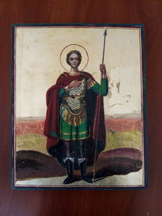 20th century ortodox russian icon of Ivan Voin hand painted