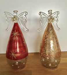 2 large Christmas Angels - Venetian glass (22 cm. high)