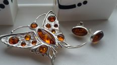 "Set - large Brooche  ""Butterfly"" & Earrings - natural Baltic amber - silver 925 - no pressed - UV test"