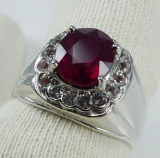 Natural deep red Ruby of 3.1 ct & white Topazes set in 925 Sterling silver
